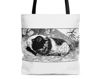 Guinea Pig Tote Bag in Black and White. 2 colors available.