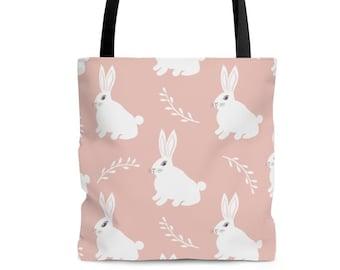 Pink White Rabbit Tote Bag, Cute Rabbit lover gift, Bunny Rabbit Owner Gift, Bunny Lover Gift, Shopping bag, Easter Bunny