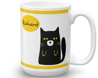 Black Cat Custom Mug - Cat Lover Personalized Mug - Cat Mug with your name
