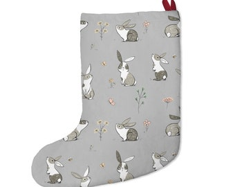 Cute Rabbit Christmas Stocking in White or Gray. Rabbit Drawing/illustration print. Pet Bunny Lover Xmas Tree Accessory Ornament