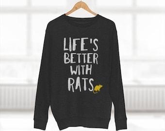 Rat Lover Crewneck Unisex Sweatshirt. Black, Light Gray, Dark Gray, Blue, Navy. Funny Pet Rat Lover Gift.