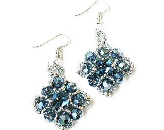 Woven Beads Earrings | Faceted Glass Beads | Blue Silver | Hanging earrings