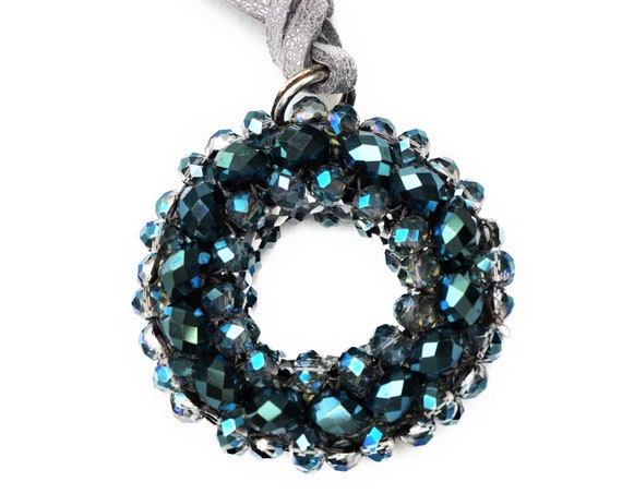 Blue Woven bead pendant on leather Strap | Chain | Glass | Blue Silver | Donut | Curls | Beads Pendant | Bead Weaving | Round Trailer