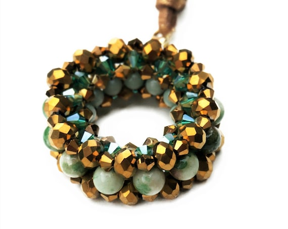 Golden Woven bead pendant on leather Strap | Chain | Jade | Glass | Gold Green | Donut | Curls | Pearl Pendant