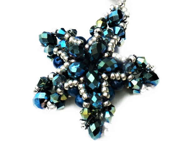 Blue Star pendant on leather Strap | Chain | Glass beads | Blue Silver | Starfish | Woven Bead Pendant | Bead Weaving |