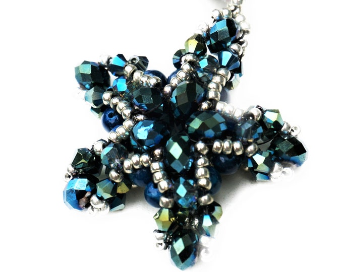 Blue Star Pendant on Leather Strap | Chain | Glass Beads | blue silver | Starfish | woven bead pendant | Beadwed |