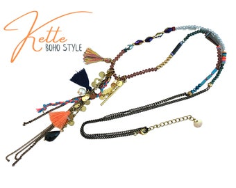 Colorful summer boho chain   dainty necklace with tassels, beads, chains in Ibiza hippie style