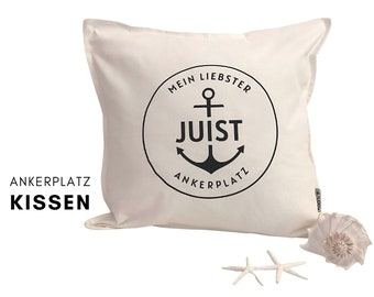 Anchorage | Maritime Pillow | personalizable | white pillowcase with black writing | Cotton | 50 x 50 cm | Juist Sylt Föhr Amrum