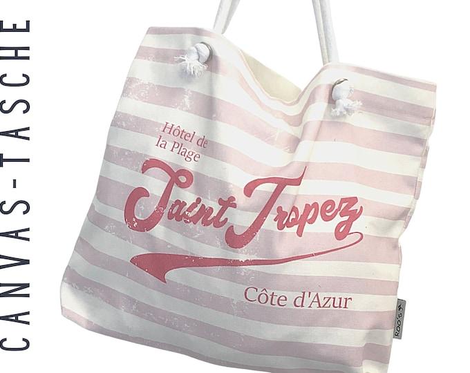 "Canvas Bag ""Saint Tropez"" | striped Beach Bag | Bag | Boho | Stripes | maritime vintage tote bag | Tote Bag | French Style"
