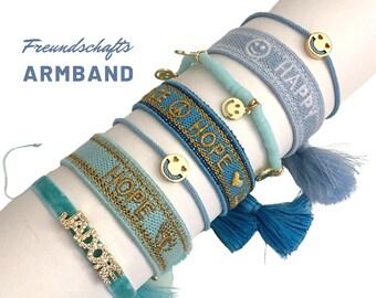 HOPE | SMILEY | HAPPY | Friendship bracelet | Web bracelet | Tassels | Pearl bracelet | Ribbons | Children's bracelet light blue turquoise gold
