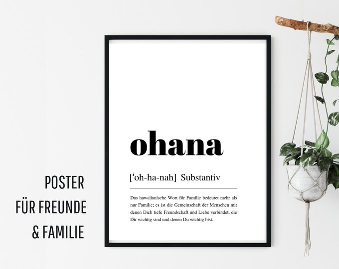 Design Poster |  OHANA | German Definition Dictionary | Digital Print | Typo Image | Art print | Duden Phonetic | Family Friends