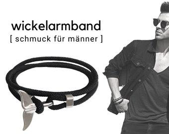 Black wrap bracelet for men   silver fish fin   maritime bracelet   Surfer   Father's Day gift   wrap energizing adjust