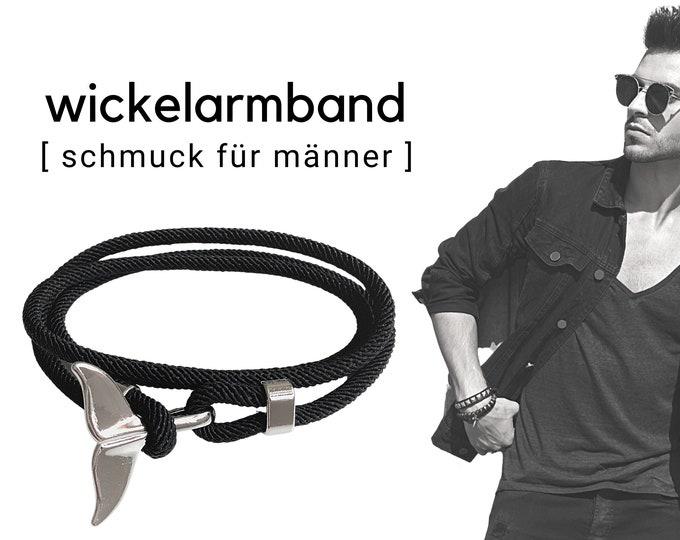 Black wrap bracelet for men | silver fish fin | maritime bracelet | Surfer | Father's Day gift | wrap energizing adjust