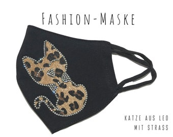 Black Mask with Leo Cat | Fabric Mask | Mouth covering | Face Mask | Elastic glitter mask with cat with rhinestones