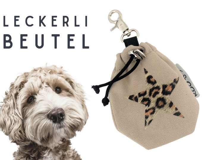 Beiger Leckerli Pouch | Leo Stern | Lining bag | for dogs | with carabiner | internal washable | lined | Pet food | Leopard Leo Look
