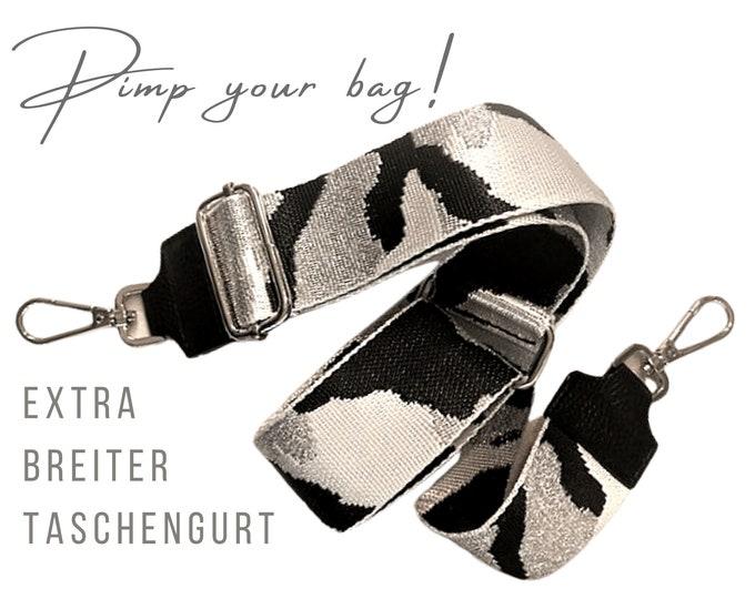 Extra wide strap for handbag | Camouflage bright | 5 cm | Crossbody Bag | XXL | adjustable | Shoulder Straps | Replacement belt | black silver