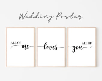 Wedding Poster Set of 3 | Wedding | Gift newlyweds | Font | Saying | Love | Love | Art Print | Print | romantic declaration of love