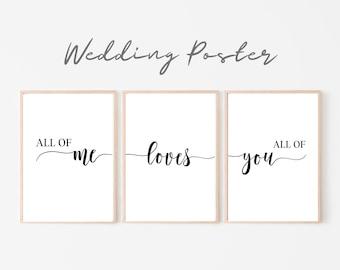 Wedding Poster Set of 3 | Wedding | Gift newlyweds | Font | Saying | Love | Love | Art Print | Print | romantic declaration of love