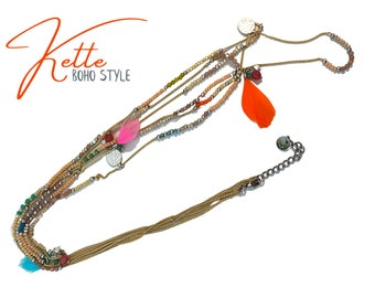 Colorful summer boho chain   unusual chain with feathers, glass beads and chains in Ibiza hippie style