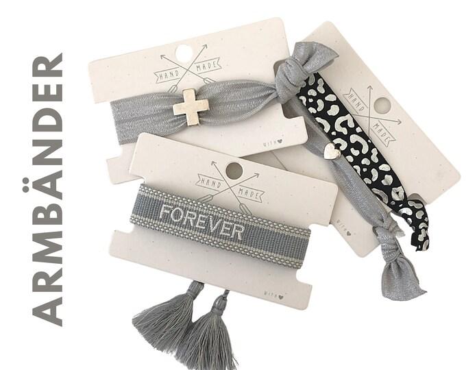 Elastic and woven bracelets | Webband | grey silver black | Cross | Heart | Leo | Boho | Hippie | Pendant | Jewellery Card | Forever