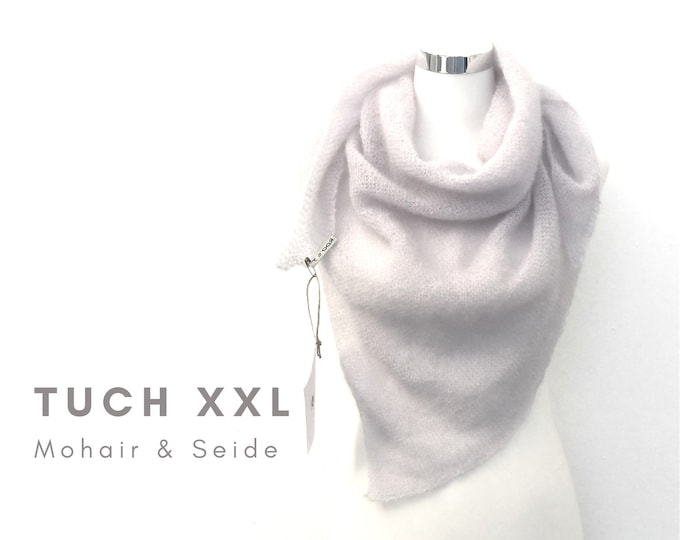 Noble Knitcloth XXL | Mohair wool with silk | silver grey | Feather-light triangular cloth | Scarf | Stole | Lace Cloth | Knitted scarf
