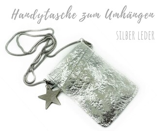 Silver mobile phone bag for cloting | Crossbody phone case | Thick sheep leather | Mobile phone handheld bag | Cross Body leather sleeve | Mobile phone chain