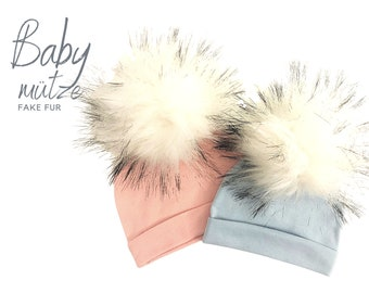 Baby hat | Bobble hat faux fur | pink or blue | bright puschel | Faux fur | First-time hat | Infant | Gift Birth Baptism | Bommel