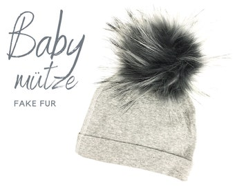 Baby hat | Bobble hat faux fur | light grey | dark puschel | Faux fur | First-time hat | Infant | Gift Birth Baptism | Bommel