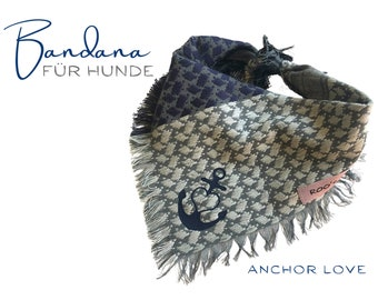 Maritime dog scarf with anchor and heart | Bandana | Triangle cloth for binding | grey blue | | frayed Fransen | Size S/meter