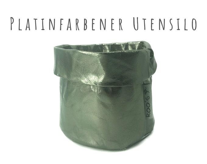 Platinum-colored Utensilo basket   Washable Paper   Planter   Round Paper Bag   washable paper bag   Storage