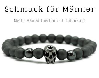 Silver grey beaded bracelet | Hematite | Skull | Skull Skull | Men's Jewellery | Men's Bracelet | Gift for Husband | Bracelet for man