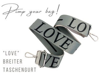 Wide grey strap for handbag | LOVE | 3.7 cm | Letters| Crossbody Bag | Pocket Straps | Font | Statement | adjustable | Replacement