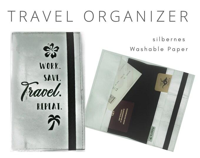 Silver Journey Case | Travel Organizer for the Journey | Document Folder | Gift for Globetrotter | Passport Case | Washable Paper