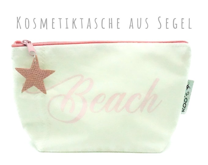 """White cosmetic bag from sail """"Beach"""" 