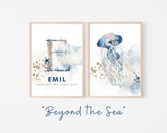 Birth Poster in Set of 2 | Baptism Gift | Customized Print | Letter | Watercolor | Saying | Animal image | Picture for the baby nursery