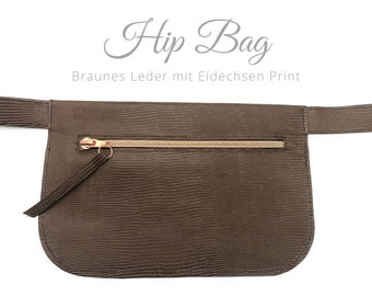 Brown hip bag | Leather Lizard Print | Belly bag | Rose Gold Zipper | Crossbody Bag | Belt