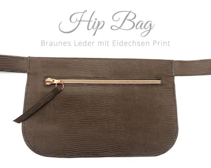 Brown hip bag | Leather Lizard Print | Belly bag | Rose Gold Zipper | Crossbody Bag | Belt