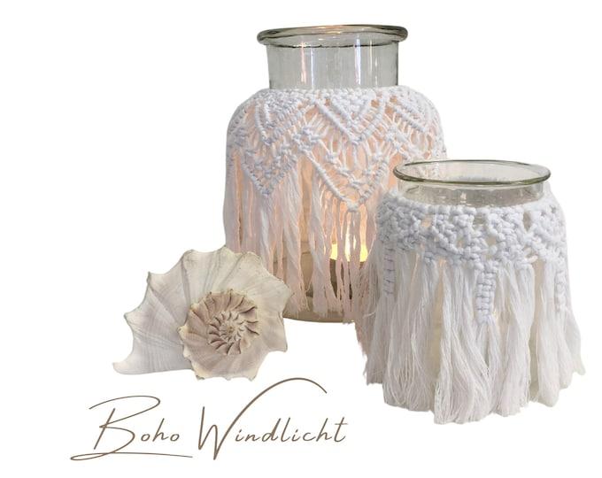Large windlight in boho style | Macramee | white | Fringe | Lantern | Candle | Light | Lighting | Vase | knotted threads | Illumination