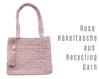 Pink crochet bag | Recycled Yarn | with tassel and asterisk | a sustainable upcycling product for environmental fans