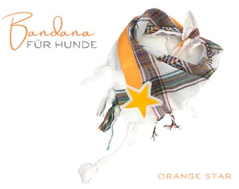 Dogs scarf | Bandana | Triangular cloth | for binding | white colorful | orange star pet gift |  Cloth collar | Fringes | Gr.M