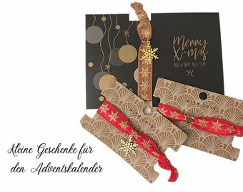 Elastic Bracelets | xmas | Ice crystal gold | Heart | Pendant | Jewellery Card | Christmas Advent