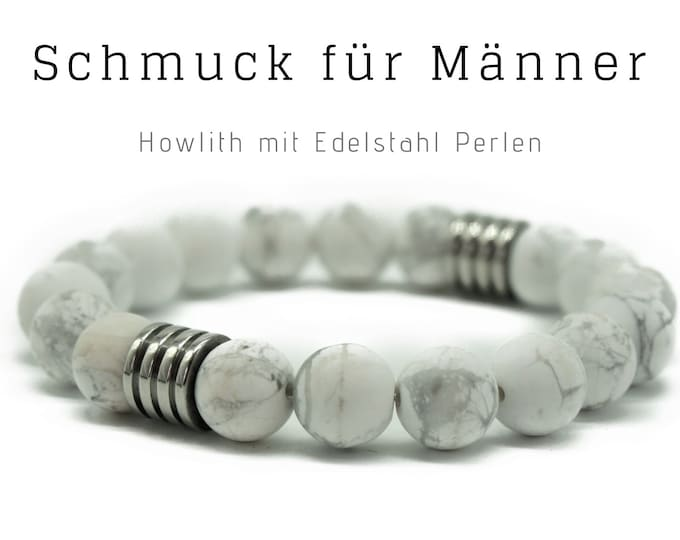 White Grey Pearl Bracelet | Howlith with silver Stainless Steel Beads | Male Jewellery | Men'S Bracelet | Gift for Man | Bracelet for Man