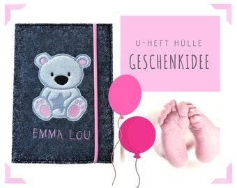 U-Hefthülle   Felt   Wish name   Bear   Felt sleeve   Case school notebook   Gift Birth Baptism Baby Party   Individually
