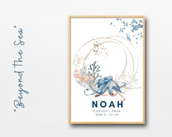 Birth Poster Name Child | Baptism gift | Individualized Print | Octopus Seahorse Watercolor | Animal image | Picture baby nursery blue gold