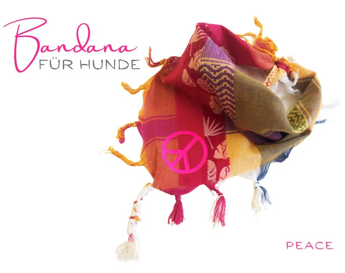 Bright colorful dog neckerchief | Bandana | Triangle cloth for binding | pink beige khaki | PEACE | Gr.M/L