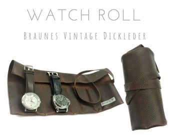 Brown 4-man Watch Roll in vintage thick leather | Gift for Men | Watches Roll 4 Watches | Travel Watches Case | Watch roll leather