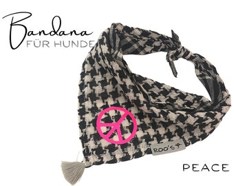 Dogs Neck scarf PEACE | Bandana | Triangle cloth | for binding | Pali in black beige | Neon Pink Peace Symbol | BOHO Style | Cloth Size S