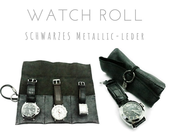 Black 3-Series Watch Roll | Metallic leather | Gift Men | Watches Roll 3 Watches | Travel Wristwatches storage | Watch Roll | Leather Roll