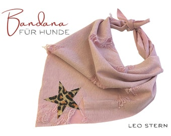 Dogs neck scarf | Bandana | Triangle cloth | for binding | pink LEO | Stern | BOHO Style |  Cloth scarf collar | Jersey | Gr.M