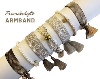Beige Friendship Bracelet | SMILEY | LUCKY | LOVE | Tassels | Web bracelet | Boho | beige gold
